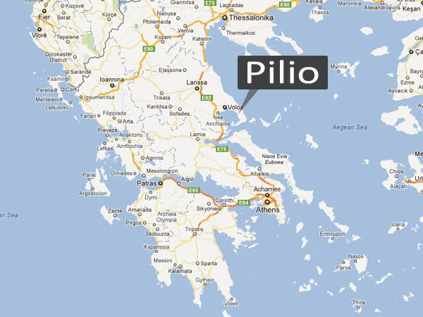 Our location in Portaria, Pelion
